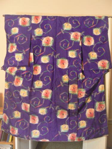 "JK 204 ""Hazy Flowers"" Antique Japanese Kimono Meisen Silk Kasuri Weave"