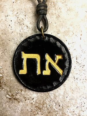 Modern HEBREW ALEPH TAV ALPHA OMEGA Leather necklace Messianic Messiah Israel