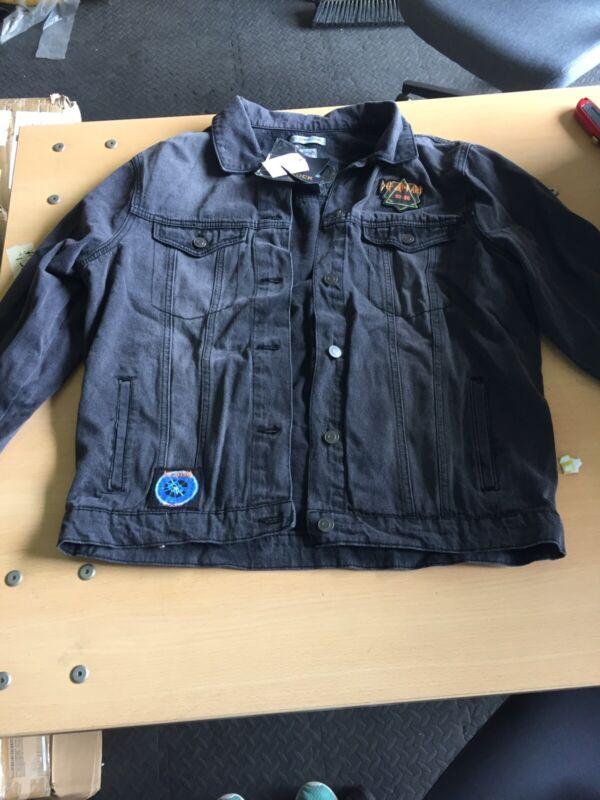 Def Leppard Black Denim Jacket (Medium) JUNKFOOD NEW with Enamel Pins (H3)