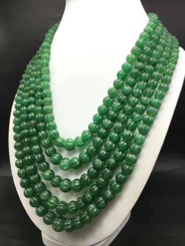 Natural green AVENTURINE hand carved round melon shape beaded necklace