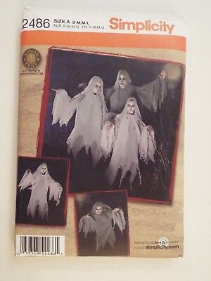NEW-Simplicity Pattern 2486 Size A-S-M,M-L-Halloween Costume-Ghost Family-RARE - A L'halloween