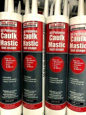 8 Oz All Purpose Caulk Mastic Silicone Tubes Sealant White Sinks Windows Trim