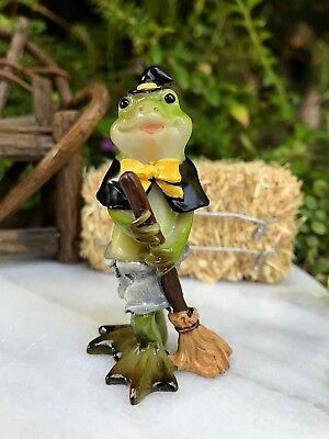 Miniatur Puppenhaus Märchengarten Figur ~ Mini Halloween Frosch in Hexe (Garten Hexe Kostüm)