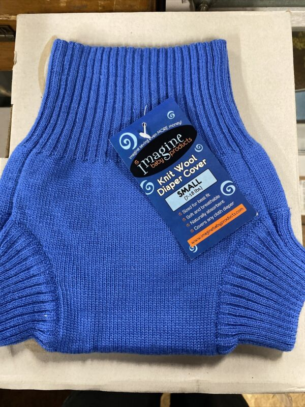 imagine baby product merino wool knit diaper cover small Blue Baby
