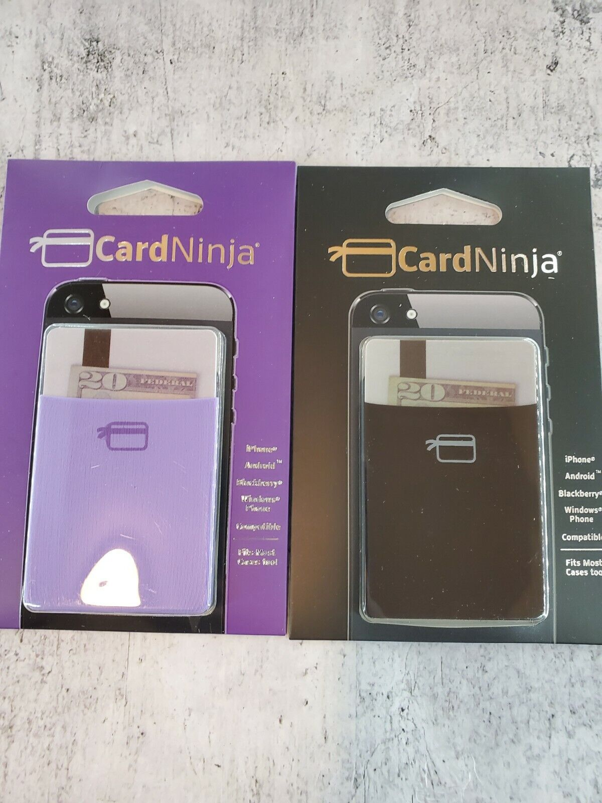 Lot Of 2 CardNinja Ultra-slim Self Adhesive Credit Card Wallet purple black  - $14.00