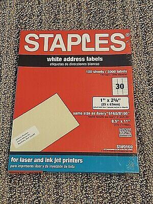 Staples 3000 White Address Labels Siw0100 Laser Ink Jet 1 X 2 58 - Pls Read