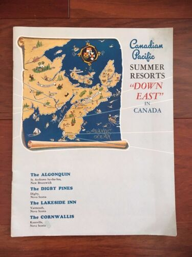 """VTG CANADIAN PACIFIC SUMMER RESORTS """"DOWN EAST"""" IN CANADA BOOKLET TRAVEL"""