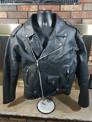 Vintage Chrome Gear Leather Motorcycle Jacket Biker Jacket Black Mens Size 46 for sale  Shipping to India