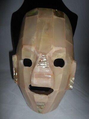 Mayan Aztec Semi Precious Stone Abalone Tribal Burial Death Mask Folk Art, used for sale  North Hills