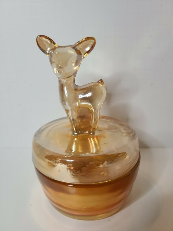 VTG Carnival Glass Jeanette Deer Fawn Powder Jar Lid Marigold Trinket Box Vanity