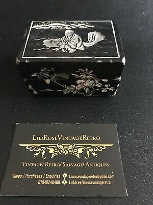 VINTAGE Small Chinoiserie Box Wood Over Resin JEWELLERY TRINKET BOX CASKET, ❤️ Chinoiserie-box