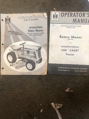Ih International Harvester 38 Rotary Mower Cub Cadet Tractor Operator Manuals