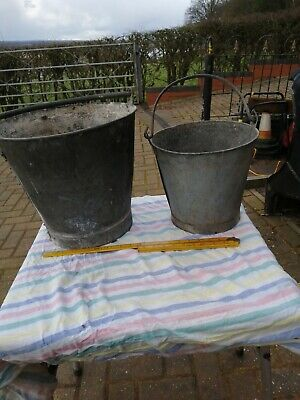 Two Vintage Galvanised Buckets Ideal Garden Planters