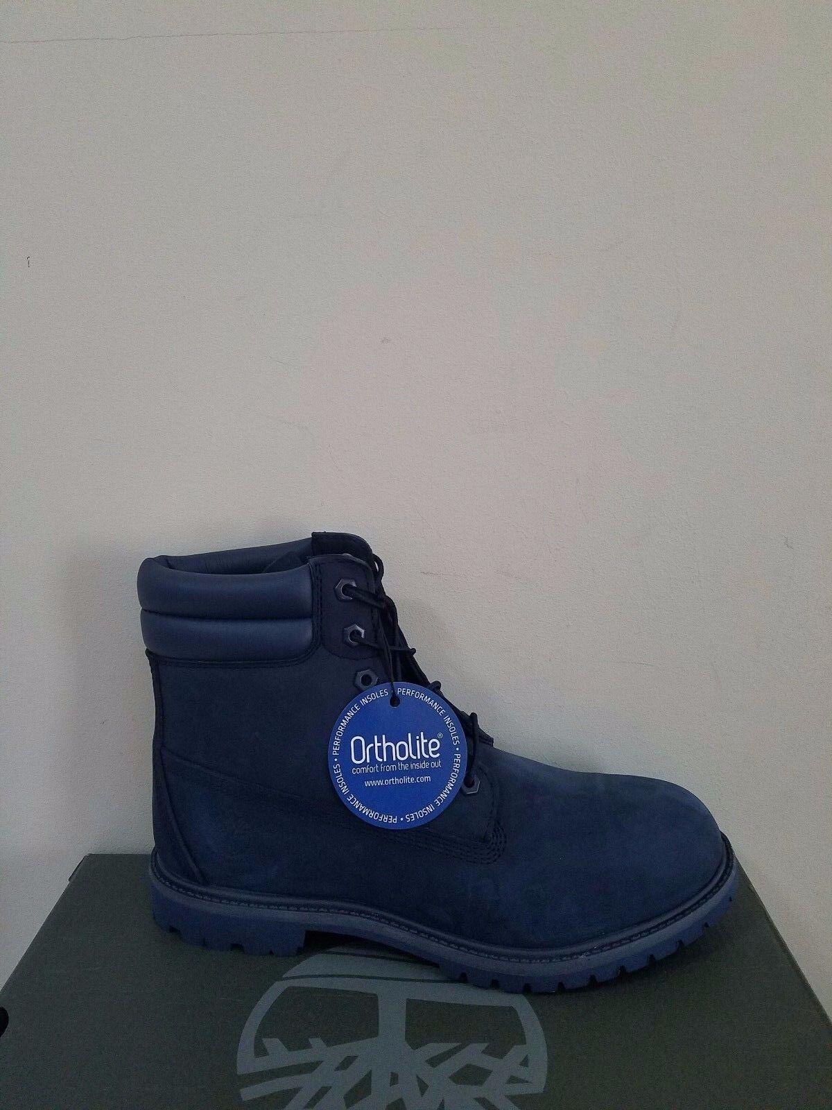 "Timberland Women's 6 inch"" Double Sole Premium Waterproof Navy Boots NIB"