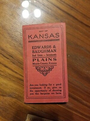 1908 Antique KANSAS State Map County real estate sales  for sale  Shipping to Canada