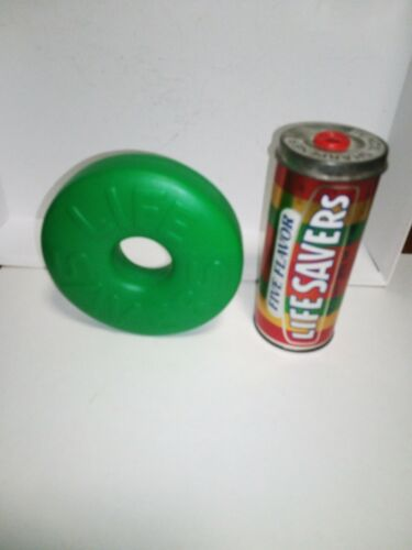 Vintage Life Savers Novelties Pencil Sharpener Tin Roll & Green Paperweight