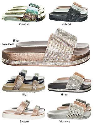 Viste07 Rhinestone Slide In PVC Molded Footbed Flatform Sandal Slippers