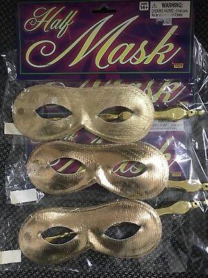 Gold Half Masks (lot of 3) on a stick Masquerade Mardi Gras(E)