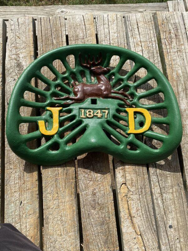Vintage John Deere Cast Iron Tractor Seat 1847 6 Antlers 4 Legs Logo #3