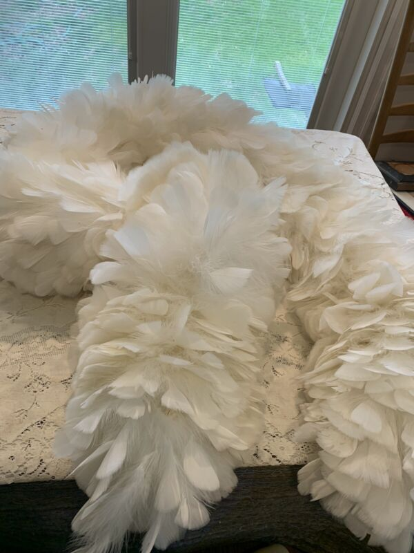 Vintage Full White Feather & Ostrich Boa