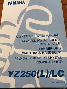 Yamaha YZ250(L)/LC Owners Service Manual