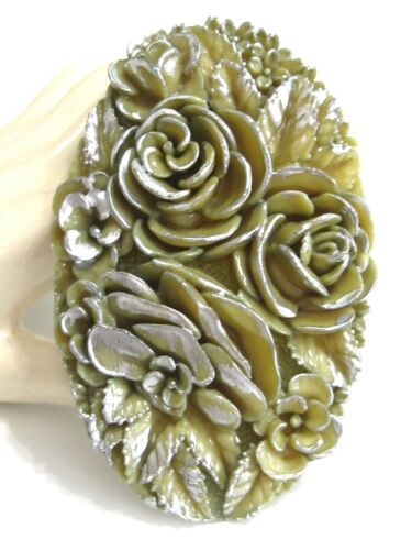 LARGE OVAL VINTAGE OLIVE ARMY GREEN CARVED CELLULOID DRESS CLIP W SILVER ACCENTS