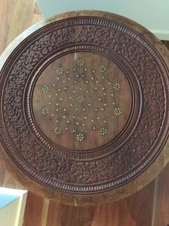 Wooden detailed side table/ chai table (Ishka) Essendon Moonee Valley Preview