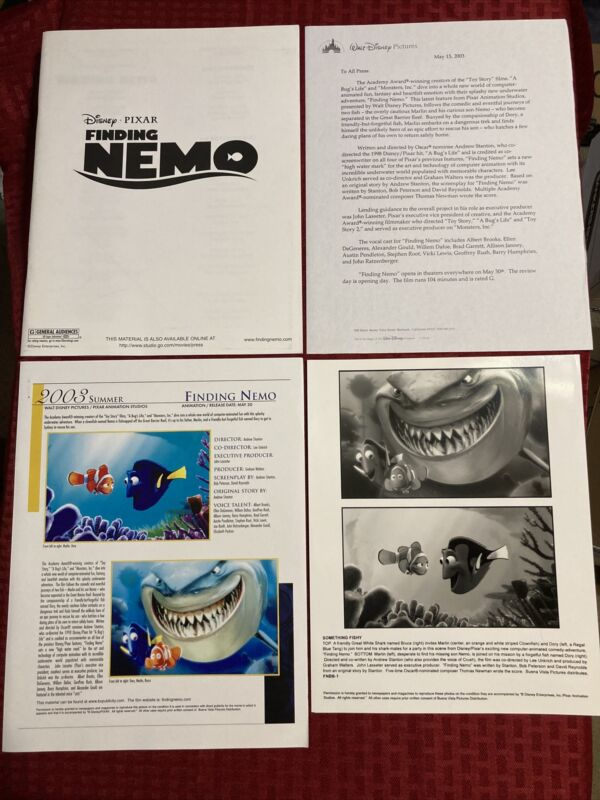 Finding Nemo Pressbook With Photo, Preview Letter, And Color Summer Preview 2003