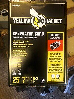 Yellow Jacket 25 Ft. 103 15a Generator Cord With Bonus Twist-to-lock Adapter