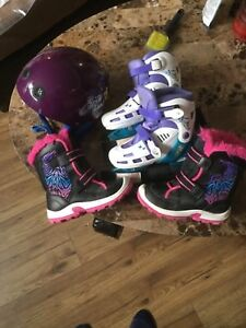 Boots skates and helmet