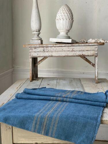 Dyed Blue Grain Sack Caramel Stripe Linen Fabric Rustic Vintage hemp textile