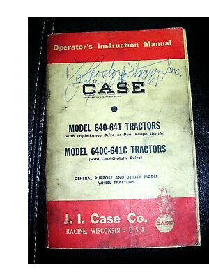 1960 Case Tractor Operators Instructin Manual Models 640 641 640c 641c