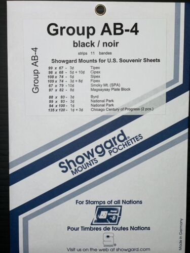 SHOWGARD STAMP MOUNTS GROUP AB-4  ****WE HELP AND SUPPORT OUR VETERANS****