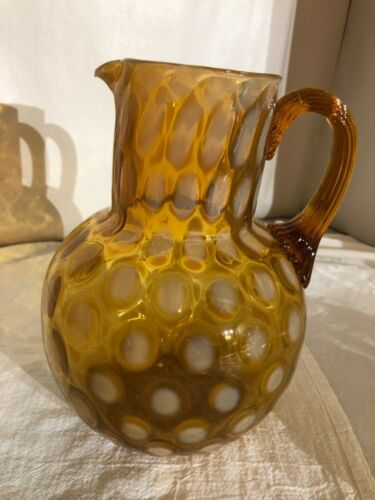 Phoenix Glass Amber Opalescent Coindot Round Neck Ball Pitcher-Mid 1880s Scarce