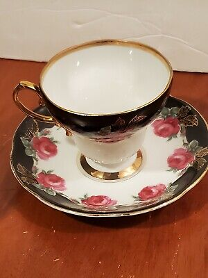 Norcrest Fine China hand painted \u201cHappy Anniversary\u201d cup and saucer set C-255 Made in Japan