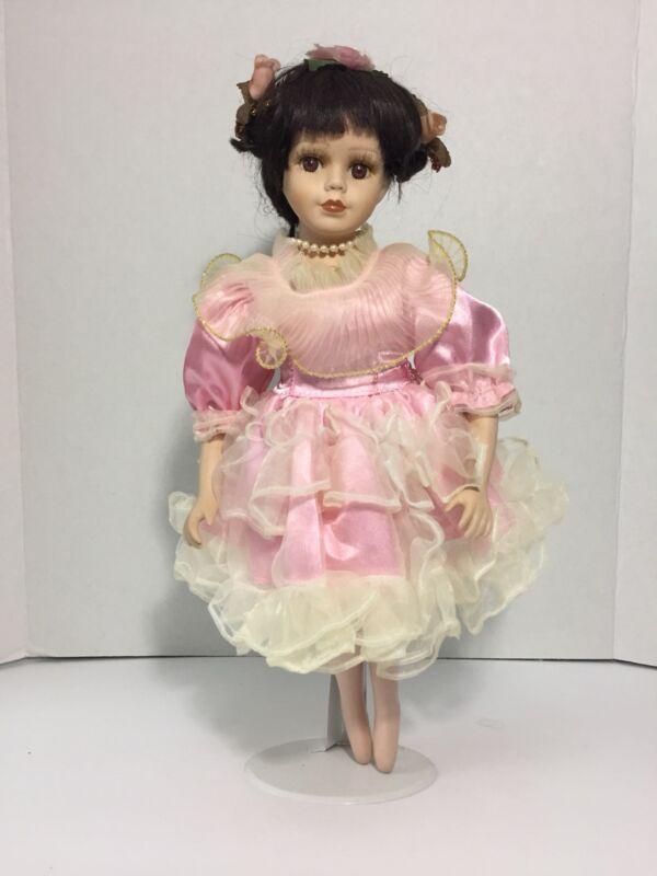 "16"" Porcelain Ballerina Doll Pink Puffy Dress Pointed Feet Black Braided Hair"