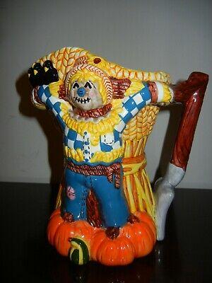 Ceramic Fall Halloween Scarecrow Pumpkins Pitcher