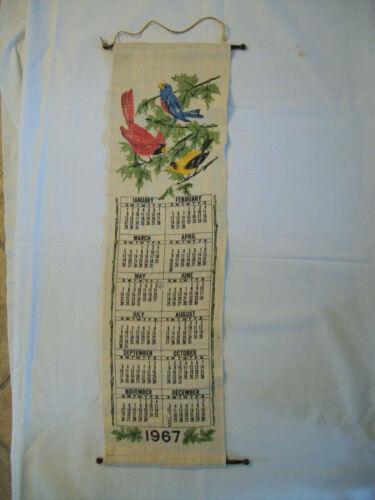 1967 Calendar Linen Wall Hanging 7 X 26 birds shabby cottage decor