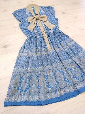 axes femme Dress Japan-M chiffon bowtie+Cut work Hime&Classical Lolita Fashion