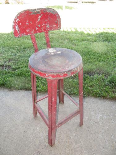 Vintage Antique Metal Kitchen Stool w/Back - Red - Primitive - 1940