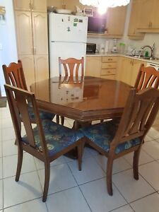 Octagon solid wood table  and chairs