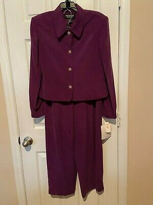 Womans Patrick Collection Purple Slik Pant Suit - Size 14