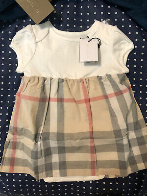 NEW Burberry Baby Girl's Classic Check Dress Size 6 Months 100% Authentic