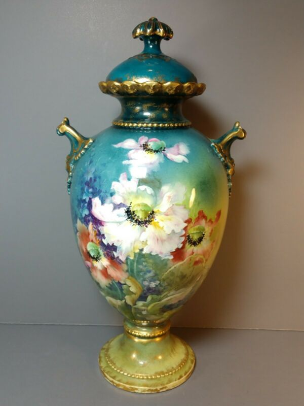 Royal Bonn Porcelain Vase With Beautiful  Floral Painting -19th century Stunning