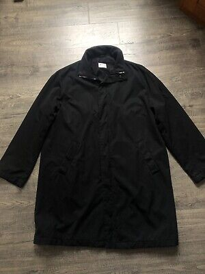 Giorgio Armani Mens Vintage 90's Minimalist Black Coat Jacket Zip Size 42