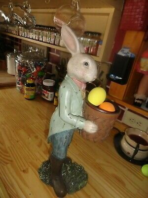 - resin easter bunny  candy or egg holder    18 1/2  in tall