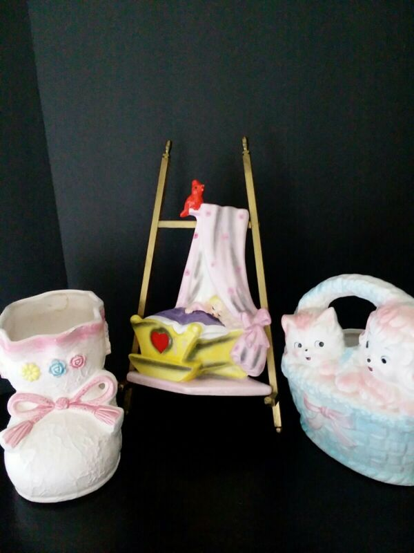 Vintage nursery planters and Lefton baby wall hanging