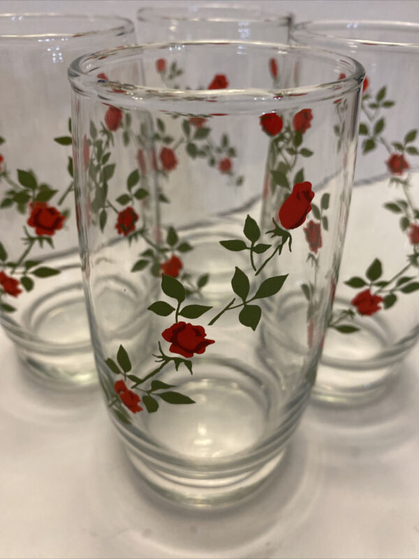 """4 VNTG Anchors Hocking Vine  Red Roses Tumblers Drinking Glass 5 1/8"""" 10 Oz"""