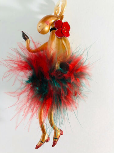 "PARTY GIRL MOOSE * 7"" GLASS ORNAMENT * red & green marabou * NIB"