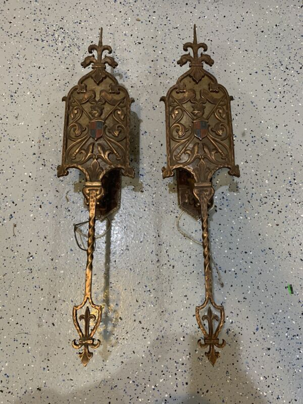 2 Large Antique Wall Sconces Lights Gothic Tudor Spanish Revival Fixtures